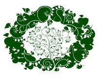 Árvore de Apple no fundo com maçãs verdes ilustração royalty free