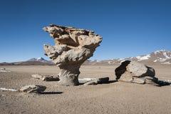Árvore de Arbol de Piedra da rocha, a formação de rocha de pedra famosa da árvore criada pelo vento, no deserto de Siloli fotografia de stock royalty free