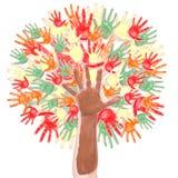 Árvore do outono feita das mãos ilustração do vetor
