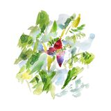 Árvore de banana da aquarela com flor Composição pintado à mão abstrata no fundo branco ilustração stock