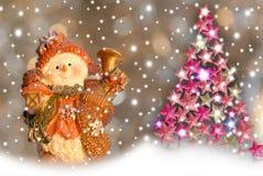 Árvore de cartões de Natal, de boneco de neve e de Natal. Imagens de Stock Royalty Free