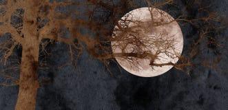 Árvore de carvalho e colagem da Lua cheia Fotos de Stock Royalty Free