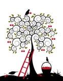 Árvore de cereja e cesta das cerejas Fotos de Stock Royalty Free