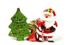 Árvore de Chirstmas, sino, Papai Noel Foto de Stock Royalty Free