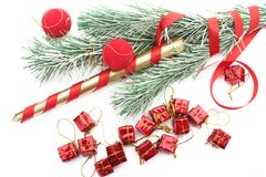 Árvore de Christmass dentro sobre o branco Imagem de Stock Royalty Free