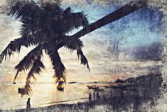 Árvore de coco Koh Tao Sunset Digitas Art Impasto Oil Painting b foto de stock