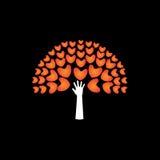 Árvore de corações e de mão do amor no apoio - ícone do vetor do conceito Fotografia de Stock Royalty Free