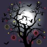Árvore de Dia das Bruxas com bastões e lua Vetor Imagem de Stock Royalty Free