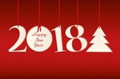 Árvore de figuras 2018 e de Natal feita da suspensão de papel em um r vermelho ilustração do vetor