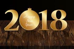 Árvore de figuras 2018 e de Natal feita do ouro Ano novo, inverno t ilustração do vetor