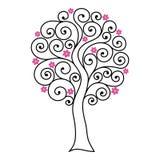Árvore de florescência com ondas ilustração do vetor