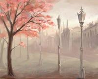 Árvore de florescência de sakura no fundo da cidade velha com lan Imagens de Stock Royalty Free