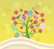 Árvore de florescência e Páscoa feliz Fotos de Stock