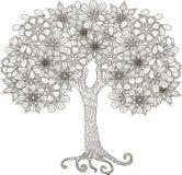 Árvore de florescência para o livro para colorir, anti-esforço ilustração do vetor