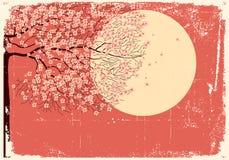 Árvore de fluxo de Sakura. Imagem de Grunge ilustração royalty free