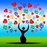 A árvore de Handprints representa o dia e a arte finala de Valentim Imagens de Stock