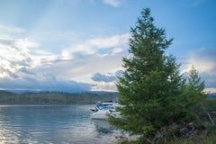 Árvore de larício e um iate no passo pequeno do mar do Lago Baikal imagem de stock