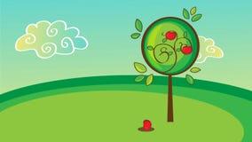 Árvore de maçã colorida com as maçãs vermelhas deliciosas - animação dos desenhos animados ilustração royalty free