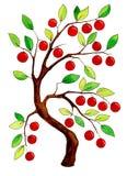 Árvore de maçã fabulosa da aquarela ilustração stock