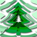 Árvore de Natal abstrata, efeito de papel e sombra, ano novo e Fotografia de Stock
