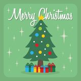 Árvore de Natal agradável com a ilustração dos desenhos animados dos presentes Imagens de Stock Royalty Free