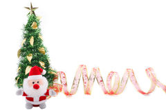 Árvore de Natal & fita vermelha Fotografia de Stock