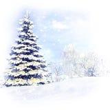 Árvore de Natal após um blizzard da tempestade da neve imagem de stock royalty free