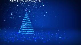 Árvore de Natal azul das partículas brilhantes do fulgor na esquerda no tiro largo do ângulo Tema do inverno para o fundo do Xmas ilustração do vetor