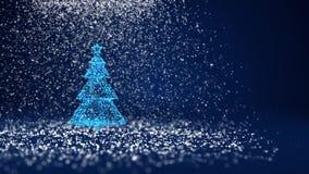 Árvore de Natal azul das partículas brilhantes do fulgor na esquerda no tiro largo do ângulo Tema do inverno pelo Xmas ou o ano n ilustração stock