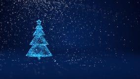 Árvore de Natal azul das partículas brilhantes do fulgor na esquerda no tiro largo do ângulo Tema do inverno pelo Xmas ou o ano n ilustração royalty free