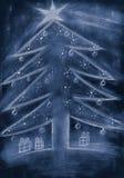 Árvore de Natal azul do esboço da mão com presentes ilustração do vetor