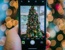 Árvore de Natal Bokeh imagens de stock royalty free