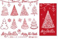A árvore de Natal, bolas, decoração, deseja Cartão vermelho ilustração royalty free