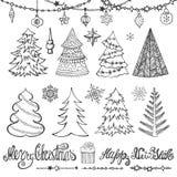 Árvore de Natal, bolas, decoração, títulos preto ilustração do vetor