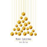 Árvore de Natal Bolas entregando ouro ilustração stock