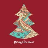 Árvore de Natal bonito tirada mão com garatujas ilustração do vetor