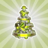 Árvore de Natal brilhante feita das esferas e das fitas Imagem de Stock