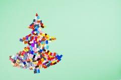 Árvore de Natal de brinquedos da construção fotos de stock royalty free