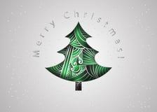 Árvore de Natal Cartão de Natal no estilo do emaranhado do zen Cartão do convite do Feliz Natal corte do papel Foto de Stock Royalty Free