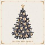 Árvore de Natal Cartão do vintage com boas festas inscrição Foto de Stock