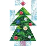 Árvore de Natal Colagem do ano novo e do Natal ilustração stock
