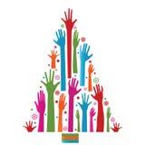 Árvore de Natal colorida das mãos
