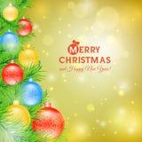 Árvore de Natal com as bolas do cartão de Natal Imagens de Stock Royalty Free