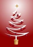 Árvore de Natal com as esferas brilhantes vermelhas Fotos de Stock Royalty Free
