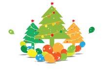 Árvore de Natal com balões Imagens de Stock Royalty Free