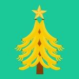 Árvore de Natal com bananas em um fundo verde Fotografia de Stock