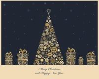 Árvore de Natal com caixas de presente ilustração do vetor