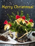 Árvore de Natal com curvas vermelhas, decoração do Natal do feriado de inverno de dezembro O Feliz Natal da inscrição Imagem de Stock