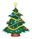 Árvore de Natal com decorações Imagens de Stock