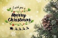 Árvore de Natal com decorações e floco de neve no bokeh Foto de Stock